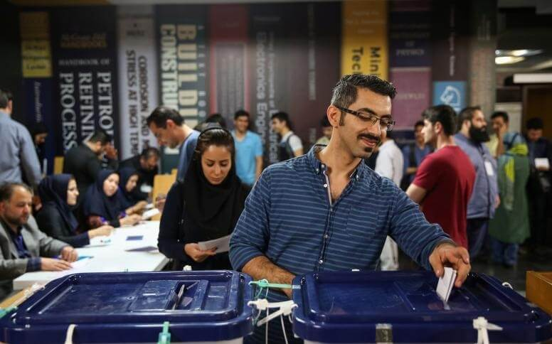Iranians cast their votes during the presidential election in a polling station in Tehran, Iran, May 19, 2017. TIMA via REUTERS